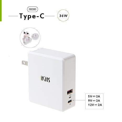 iKits 2-Port USB-C Cargador de viaje,36 W Type-c PD, para ...