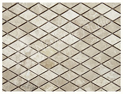 Box 10 Tiles Diamond Shape Natural Stone Mosaic Tile 12''x12'' FIUGGI-ST023 (10) by NovoTileStudio.com