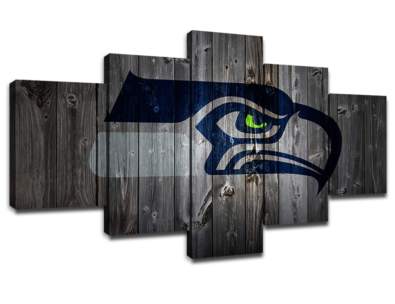 Seattle Seahawks NFL Team Logo Wall Decor Art Paintings 5 Piece Canvas Picture Artwork Living Room American Football Prints Poster Decoration Wooden Framed Ready to Hang(60''Wx32''H)
