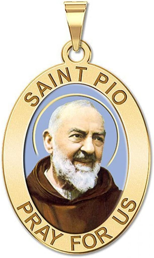 PicturesOnGold.com Saint Pio of Pietrelcina Oval Color or Sterling Silver Available in Solid 14K Yellow or White Gold