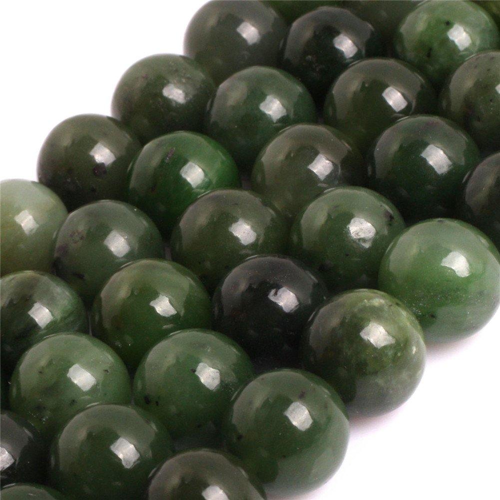 Round Green Canadian Jadeite Jade 12mm AAA Grade Natural Genuine Gemstone Semi Precious Stone Beads for Jewellery Making 15'' (Round Green Canadian Jadeite Jade 15MM)