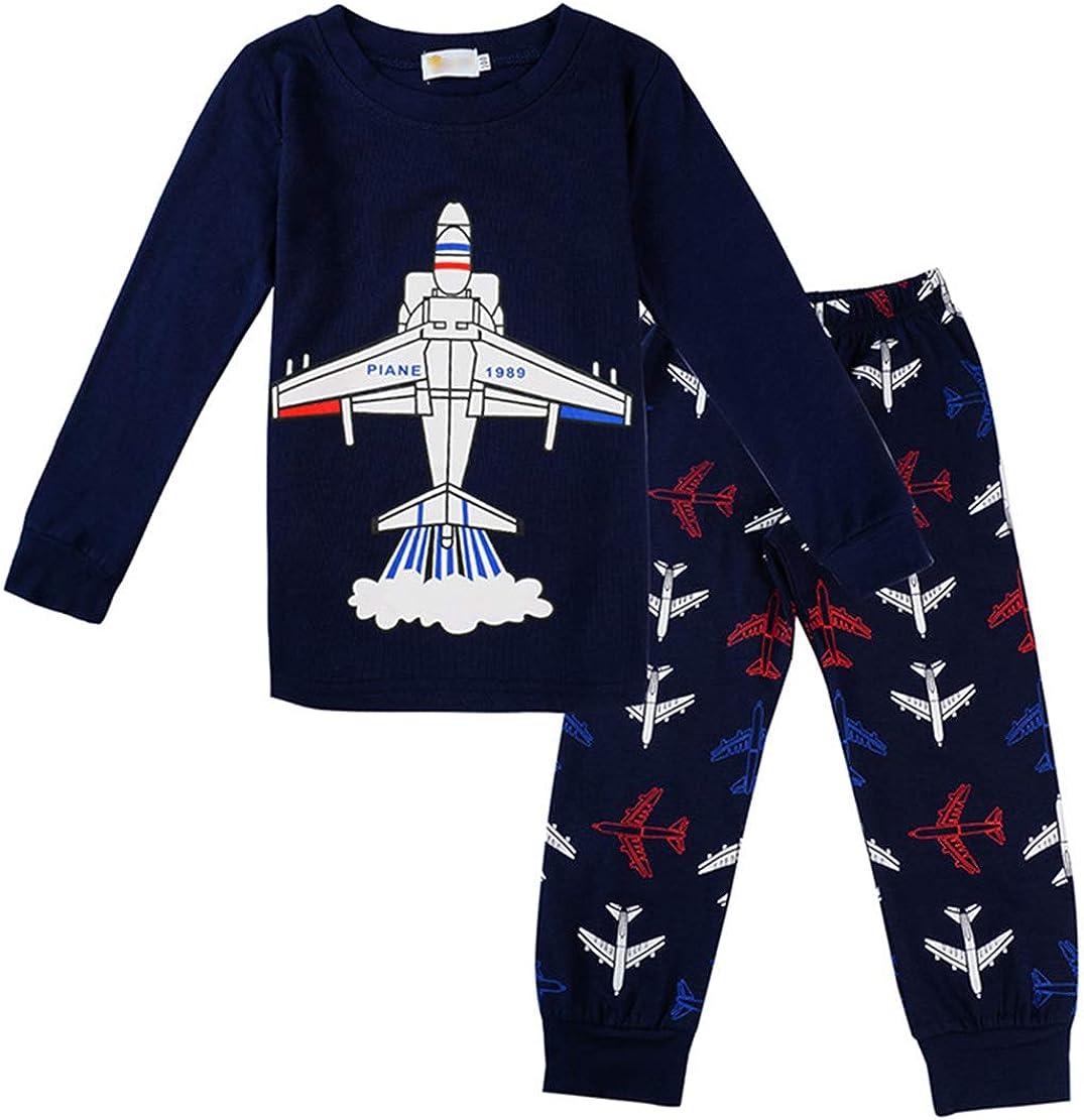 Pijamas Dos Piezas para Niño Otoño e Invierno Impresión de Avión Manga Larga Top y Pantalon Conjunto Ropa de Dormir