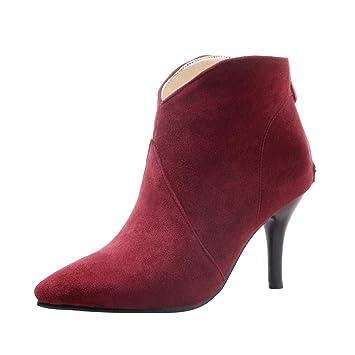 LuckyGirls Botas con Tacón de Aguja de Mujer Ante Moda Botine Botina Zapatillas Casuales Calzado Zapatos