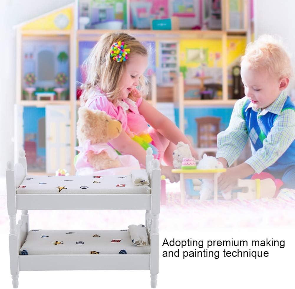 Tianhaik Poup/ées Lit Superpos/é 1//12 Maison de Poup/ée Miniature Meubles Enfants Jouets Mod/èle Lit D/écor pour Chambre