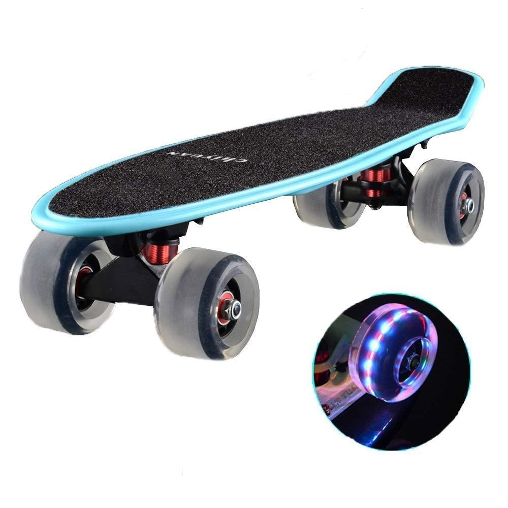スケートボード フラッシュホイールスケートボード片面傾斜ボード男子生徒用スケートボード高衝撃吸収性高耐摩耗性スケートボード (Color : B) B