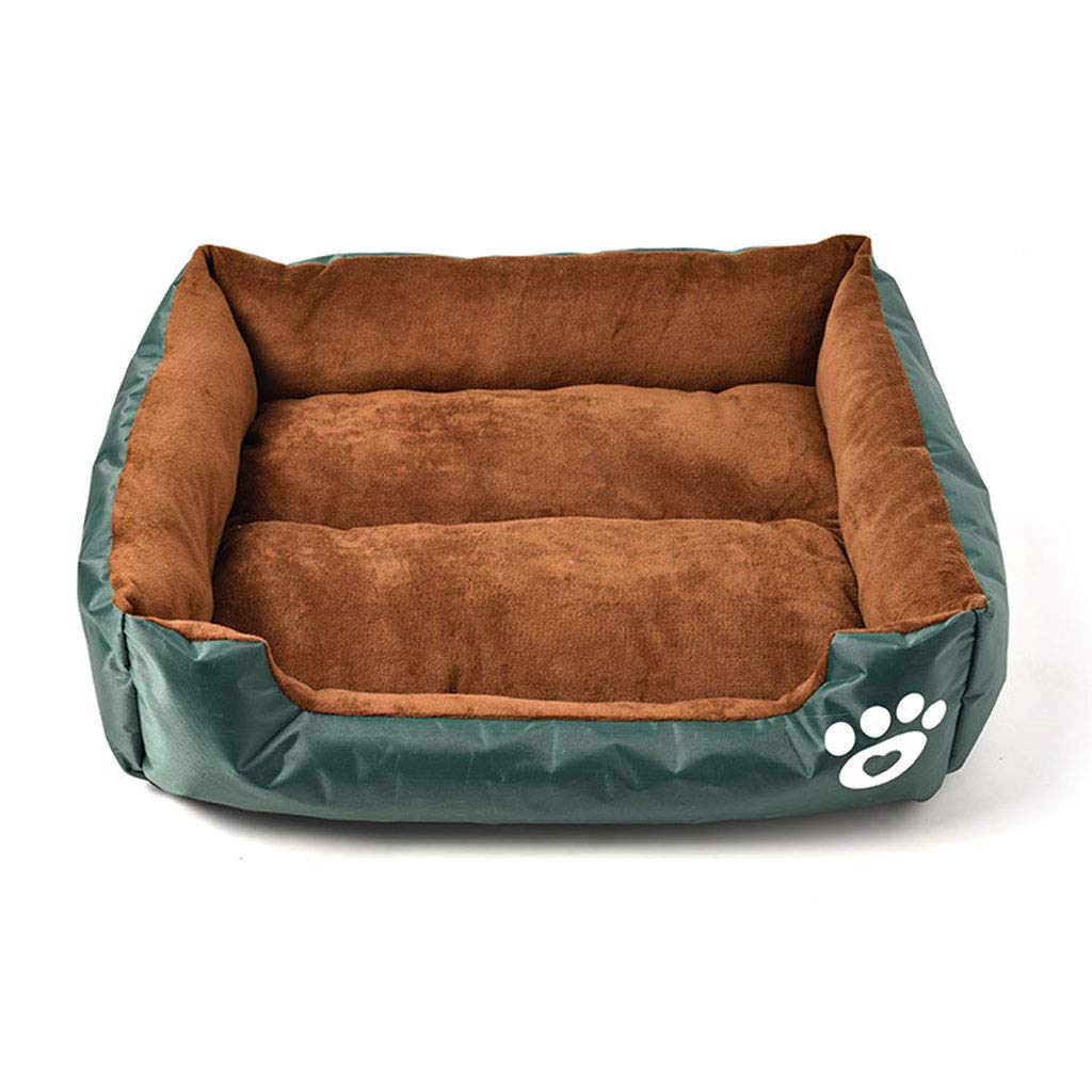 GREEN S GREEN S LJM- Soft Plush Dog Bed with Reversible Bolster Pillow, Removable and Washable Cover, Dog Beds (color   Green, Size   S)