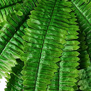 31.5'' Artificial Boston Fern Fake Grass Leaves Plant Greenery Outside Planter for Home Indoor Garden Office Party Decor 5