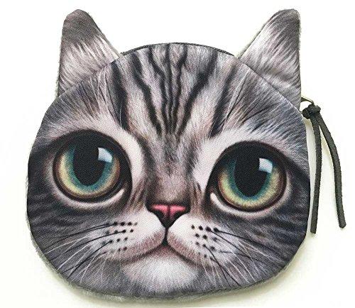 Cute Kitty Face Coin Bag | Lovely Cat with Big Eyes Zipper Closure Animal Head Handbag