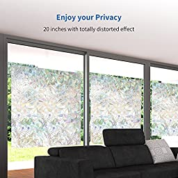 Rabbitgoo 3d No Glue Static Decorative Privacy Window Films for Glass Non-Adhesive Heat Control Anti Uv 23.6in. By 78.7in. (60 X 200cm)