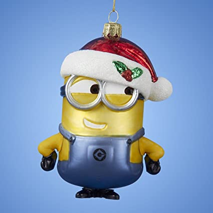 pack of 6 despicable me glass minion with christmas hat ornaments 5 - Minion Christmas Ornaments