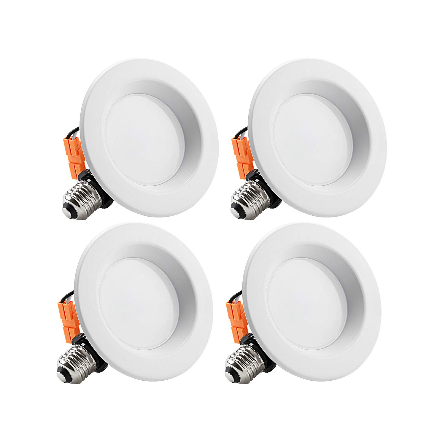 TORCHSTAR 4-Inch Dimmable Recessed LED Downlight with Smooth Trim, 10W (65W Eqv.), CRI 90, ETL, 2700K Soft White, 700lm, Retrofit Lighting Fixture, 5 Years Warranty,Pack of 4