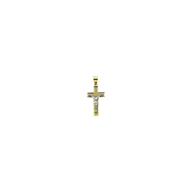 14K Yellow Gold /& White Gold 26.5x15.25mm Crucifix Pendant