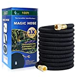 GLOUE 100FT Garden Hose,2017 New Strongest Expandable Hose Solid Brass Connector, Sealing Rings,Durable Latex Core and Strength Fabric Polyester for Cars Garden Hose,addition Portable Quick Connecter