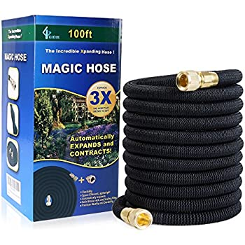 GLOUE 100FT Garden Hose,2017 New Strongest Expandable Hose Solid Brass  Connector, Sealing Rings