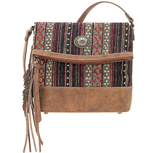 AMERICAN WEST BANDANA LEATHER SERAPE FOLD OVER CROSSBODY LADIES HANDBAG BROWN by Bandana By American West
