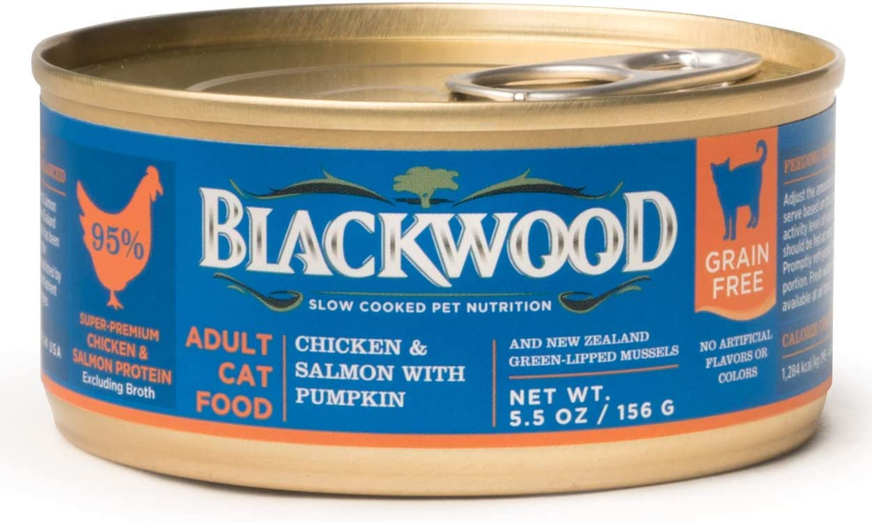 Amazon Com Blackwood Pet Food Grain Free Wet Cat Food Made In Usa Grain Free Canned Cat Food For All Life Stages Chicken Salmon With Pumpkin 5 5 Oz Can Pack Of 24