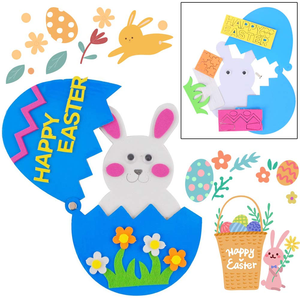Easter Craft Kits, 6PCS DIY Sets Including Hatching Chick Bunny Magnet Foam Egg Easter Basket Craft Stick Sign Bunny Wreath and Rabbit Glasses for Kids Favor Classroom Daycare Homeschool Art Decor