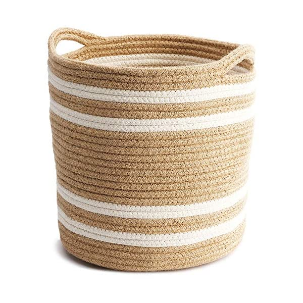 HUNIIHOME Jute Cotton Rope Basket with Handles – 11 x 11 Inch Woven Storage Basket & Organizer for Blankets, Toys, Laundry, Baby Nursery, Living Room, Bin