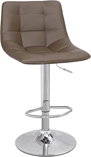 Adeco Modern Swivel Adjustable Leather Brown Armless Barstool with Chrome Base – Set of 2
