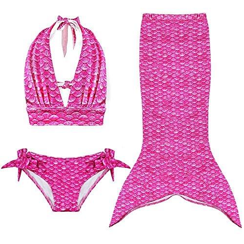 Girls Kids Mermaid Tail Swimmable Bikini Set Swimwear Swimsuit Swimming Costume 5-6Years Rose