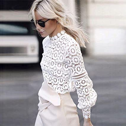 a4b52e49 Amazon.com: MUYAOO Women's Tops T-Shirt Lace Blouse Ladies Long Sleeve  Casual Shirt (S, White): Home & Kitchen