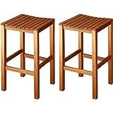 LuuNguyen Joe Outdoor Hardwood Bar Height Chair Natural Wood Finish, Set of 2