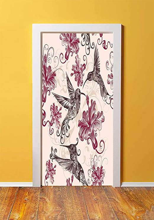 Floral Wall Transfer x17 Floral Swirl Flower Wall Sticker Removable Vinyl