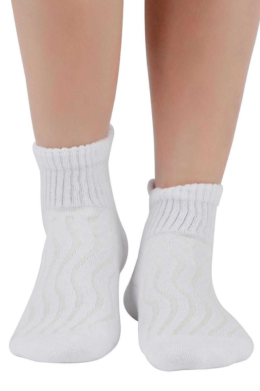 8 pares de Calcetines para diab/éticos unisex Medias almohadillas de algod/ón transpirables y antibacterianas White9-11