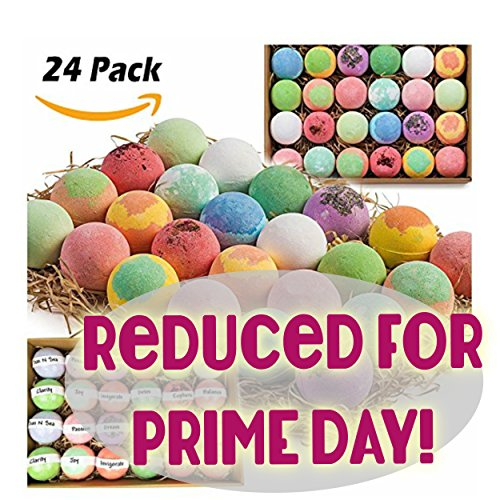 Gift Set of 24 Nurture Me Organic Bath Bombs, Large Bath Fizzies All Natural with Organic Shea & Cocoa Butter (Wholesale Bath Bombs)