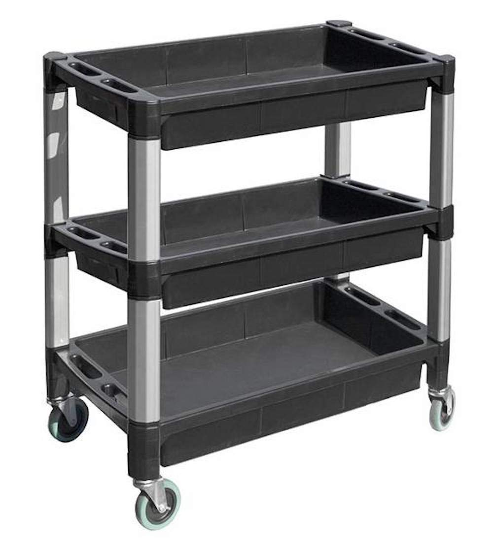 MaxWorks 80873 3-Tray Service Utility Cart With Aluminum Legs & Wheels by MaxWorks