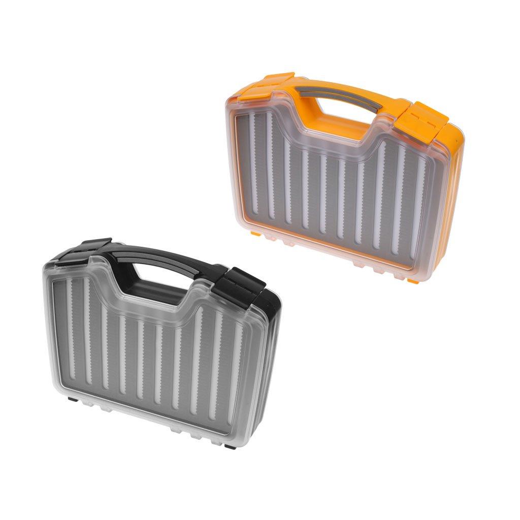 MonkeyJack 2 Pieces Portable Waterproof Double Side Foam Fishing Flies Lure Bait Tackle Box Storage Case with Clear Lid