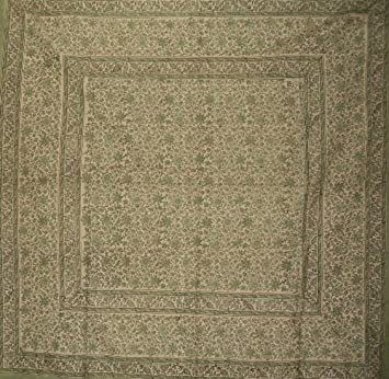 Homestead Daisy Chain Block Print Tablecloth 60 x 60 Square
