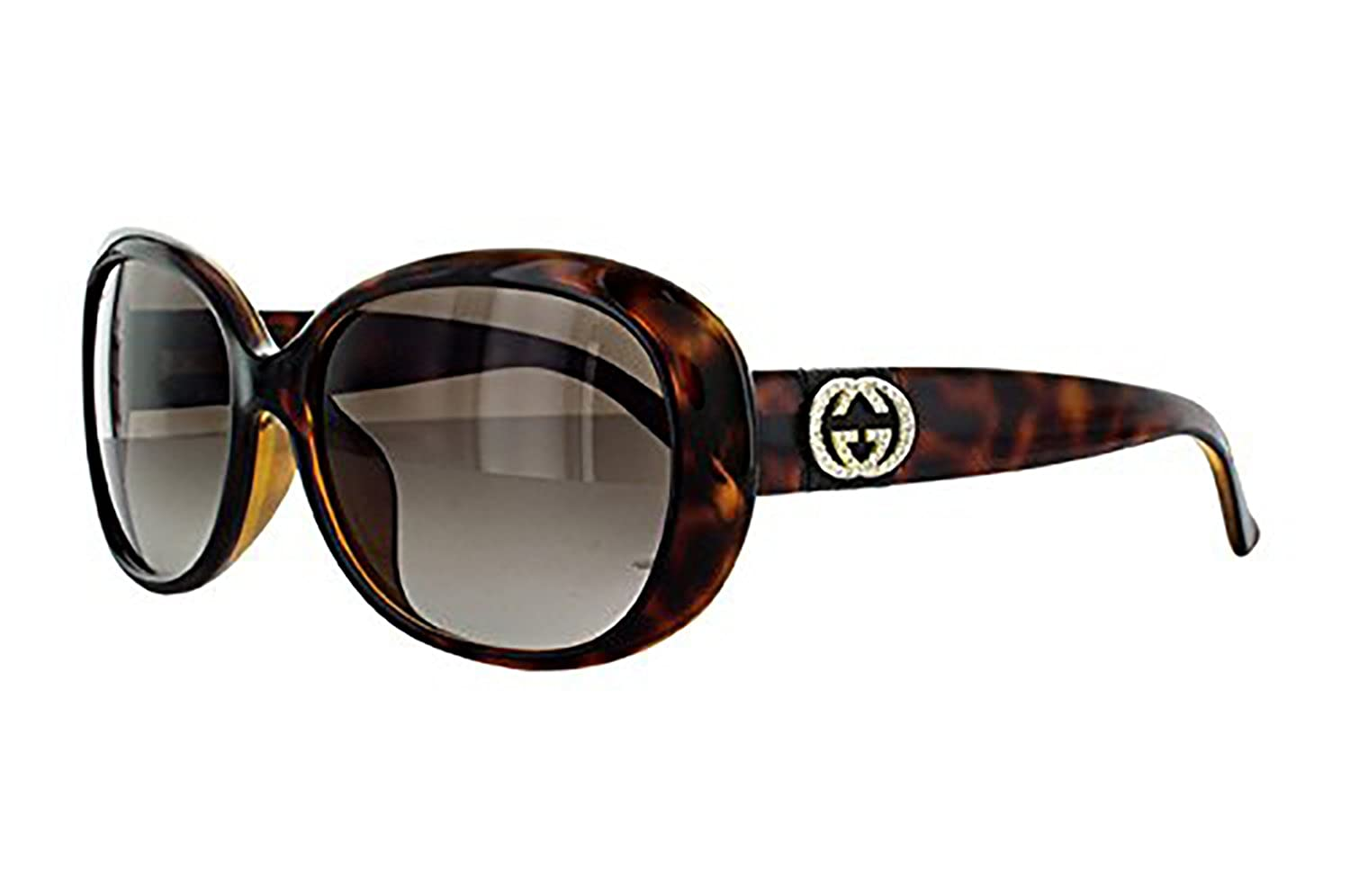 3fc425511c0 Amazon.com  GUCCI GG3660NKS Oval Leather Stripe Brown Havana Gold Strass  Sunglasses 3660  Clothing