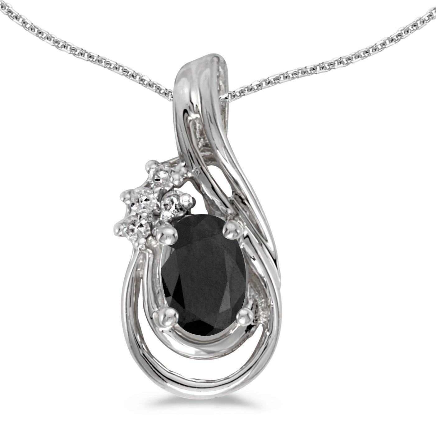 FB Jewels Solid 14k White Gold Genuine Birthstone Oval Gemstone And Diamond Teardrop Pendant 1//3 Cttw.