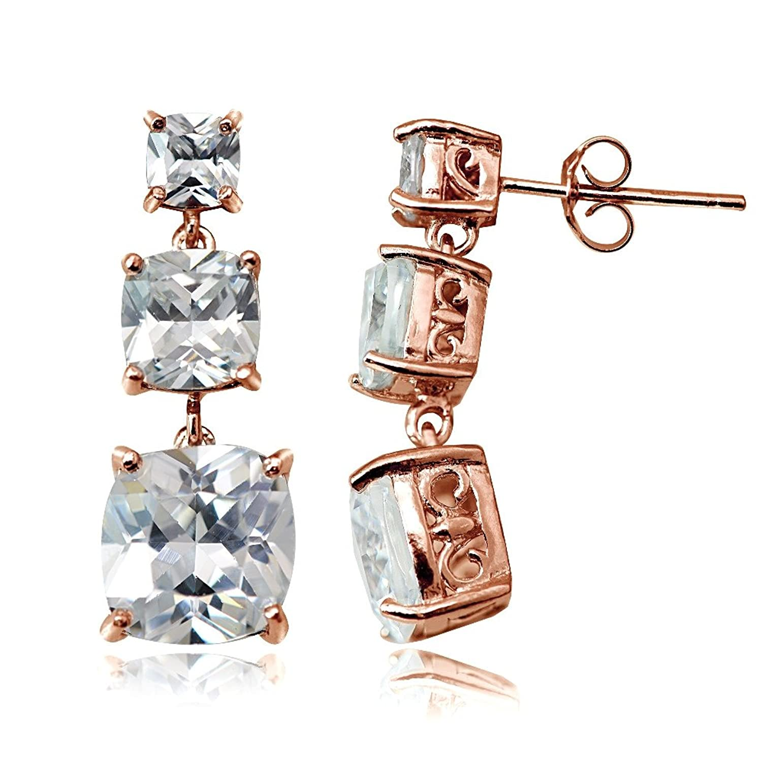 Amazon Rose Gold Flash Sterling Silver Cubic Zirconia Three