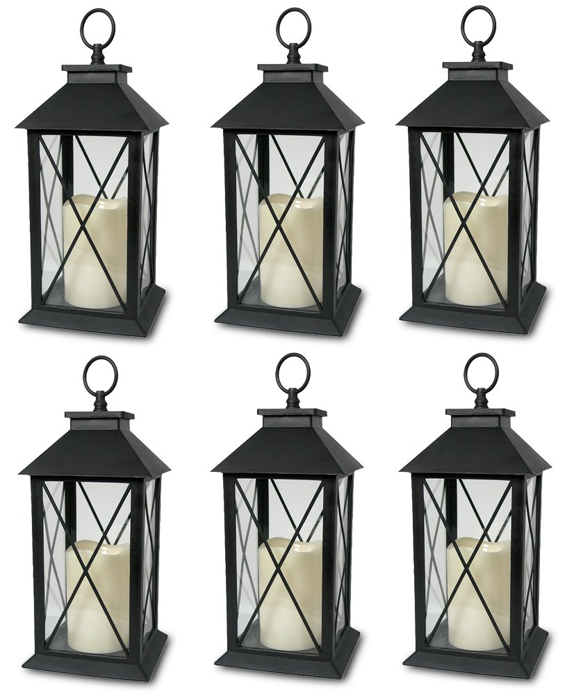 Decorative Black Lantern - LED Flickering Flameless Pillar Candle with 5 Hour Timer Included - Indoor/Outdoor Lantern - 13'' - Pack of 6