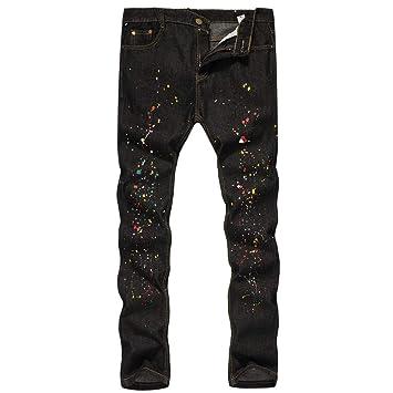 9006c2aa3e TWBB Pantalones Vaqueros Estampados de algodón para Hombre  Amazon.es   Deportes y aire libre