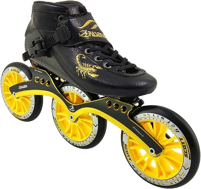 PASENDI Professional Speed Skates Shoes 3 Wheels for Man 3X110MM Wheels Carbon Fibre Roller Skating Shoes Black Inline Skate Shoes