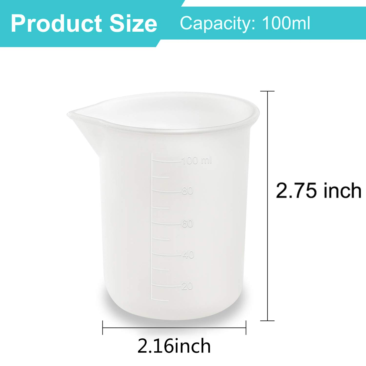 Coopay 12 Pieces 100 ml Silicone Measuring Cup DIY Resin Glue Tools Cup for Making Handmade Craft Nonstick Silicone Mixing Cups