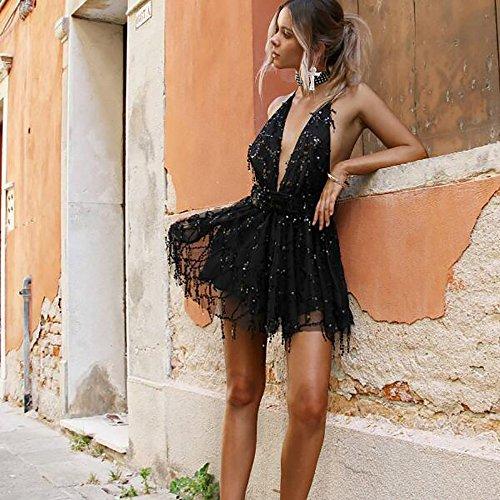 Da Mini Flyself Pizzo Sexy Eleganti Paillettes Brillare V Donna Schienale Profondo Abiti Mare Senza Cocktail Partito Black Maniche Collo Vestiti Ragazza A Vestito Sera Banchetto Estivi DHE29WIY