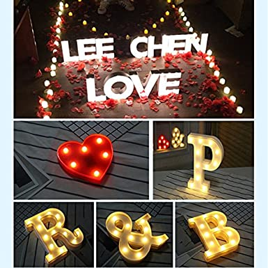 P A-Z Alphabet Light White LED L/ámparas de noche Plastic Letter Standing Hanging Lighting para Wedding Party Dormitorio Decoraci/ón de Navidad by Moobom