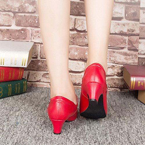 Abby Fhl002 Femmes Fermé Bout Rond Boucle En Peau De Mouton Mary Jane Bloc De Danse Talon Digne Moderne Loisirs Chaussures De Danse Carrée Léger Charme Rouge (semelle Intérieure)