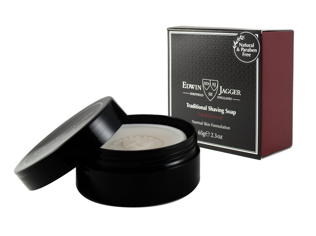 Edwin Jagger 99.9% Natural Traditional Shaving Soap In Travel Tub - Sandalwood, 2.3-Ounce SSSWTAMZ