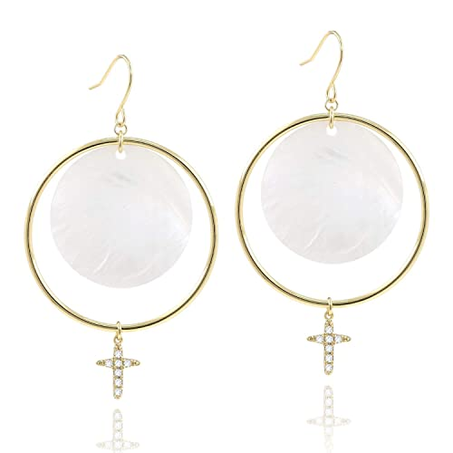 ed834a9b31ff8 14K Gold Big Circle Hoop Natural Pearl Shell CZ Cross Drop Dangle Hook  Earrings for Girls
