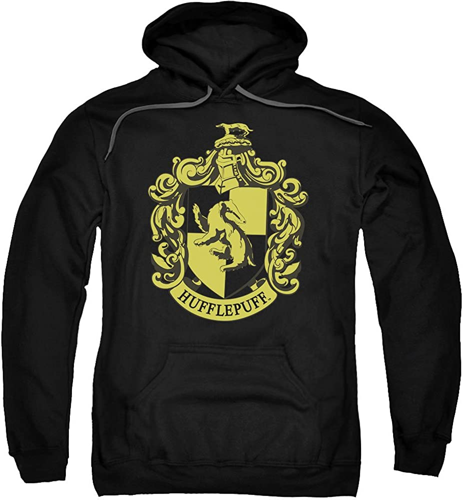 Harry Potter Hufflepuff Crest Adult Pull Over Hoodie Black