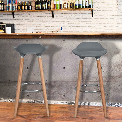 32 Bar Stools (WOHOMO Kitchen Counter Height Bar Stools 32 Inches Grey Set of 2 Tall Barstools for Home Bar Kitchen Counter)