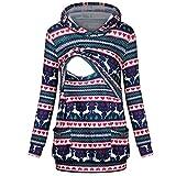 Ohvivid Women's Maternity Nursing Hoodie Sweatshirt Christmas Pockets Tops Breastfeeding Pullover Hooded (Medium, Multicolor)