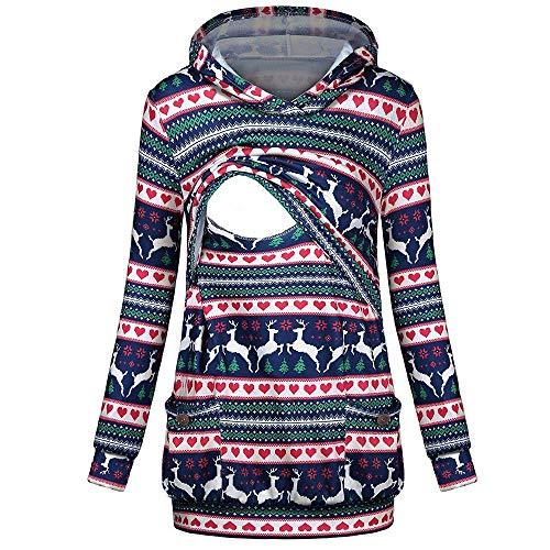 Liz Lange Maternity Top - Maternity Clothes Summer Women's Nursing Hooded Christmas Pockets Tops Breastfeeding Hoodie Sweatshirt Multicolor 2XL
