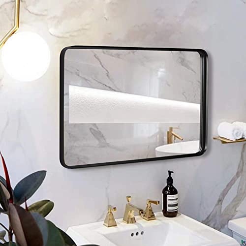 Black Wall Framed Rectangular Mirrors for Bathrooms 24 x36 , Large Rectangle Mirror with Brushed Glass Panel, Modern Home Entryway Decor Mirror with Corner Deep Design, Hangs Horizontal or Vertical