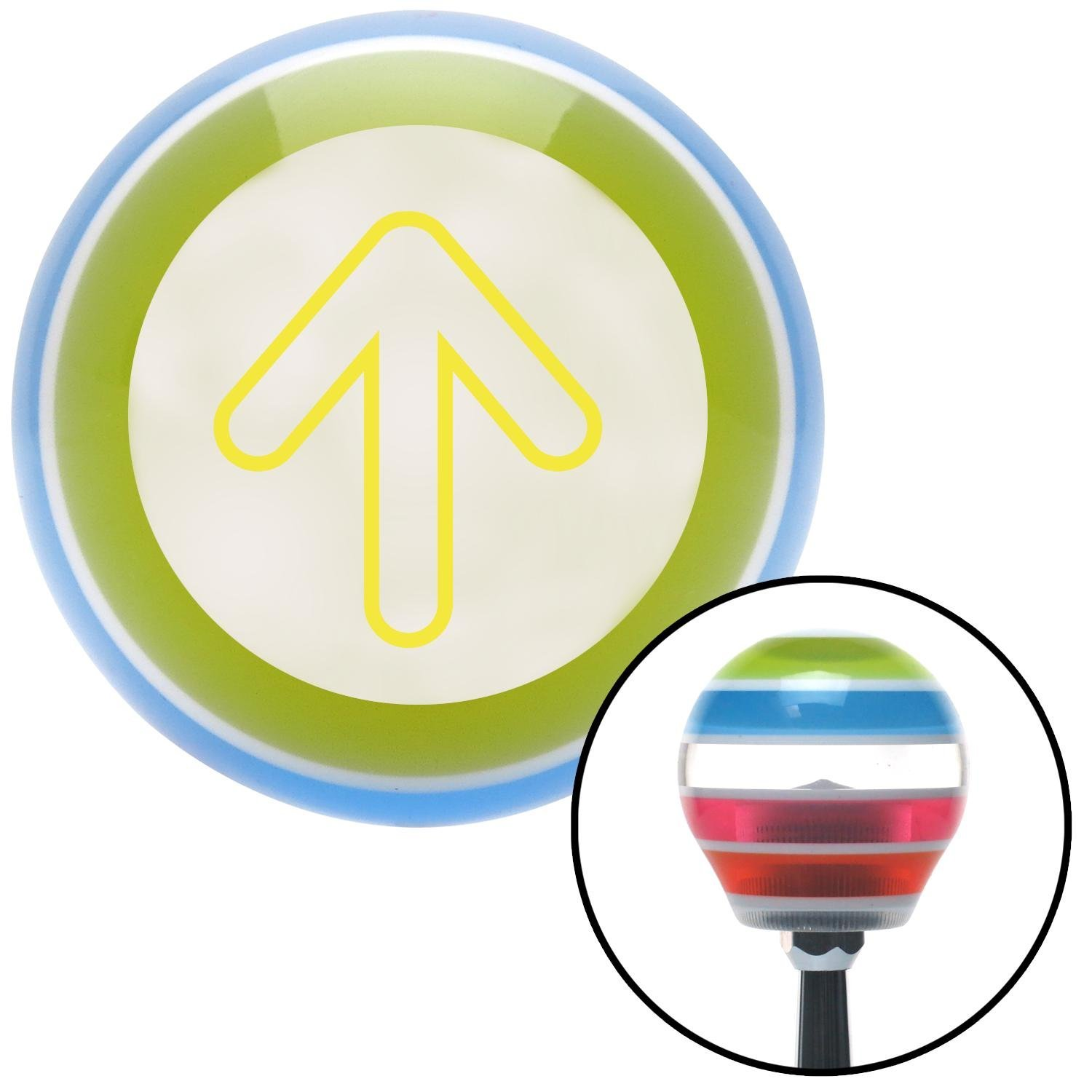 American Shifter 130896 Stripe Shift Knob with M16 x 1.5 Insert Yellow Bubble Directional Arrow Up